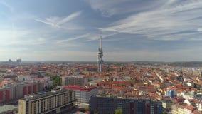 Truteń panoramy widoku telewizji powietrzny wierza w Praga, republika czech zdjęcie wideo