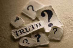 Truth. Picture of a word truth with question marks Royalty Free Stock Photo
