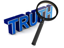 Truth. Word under a lens, concept of scrutinizing the  and finding the facts before making a decision Royalty Free Stock Image
