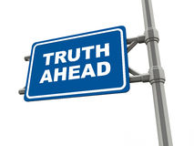 Truth. Ahead words on a road sign on white background, concept of revelations and declaration of Stock Photography