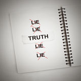 Truth book. The words truth on paper over the word lie in notebook royalty free stock photo