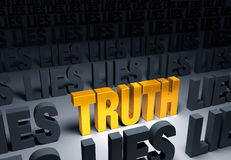 Truth!. Bright, gold TRUTH weighs one end of a gray balance beam down while a gray LIES sits high in the air on the other end.  on white Stock Photography