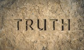 Truth Chiselled Into Rock. Conceptual Image Of The Word Truith Chiselled Into Stone Or Rock Royalty Free Stock Photos