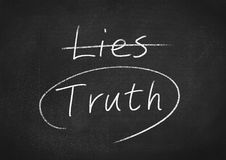 Truth concept. Word text on blackboard background stock image