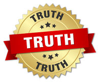 Truth 3d gold badge. With red ribbon Royalty Free Stock Photography