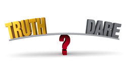 Truth Or Dare?. Bright, gold TRUTH and dark gray DARE sit on opposite ends of a gray board which is balanced on a red question mark. Isolated on white Royalty Free Stock Photo