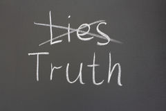 Truth. Inscription in chalk on a blackboard, a lie or the truth royalty free stock images