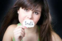 Truth or lie. Woman. Truth or lie royalty free stock photography