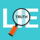 Truth lie symbol text magnify magnifying find true Stock Photos
