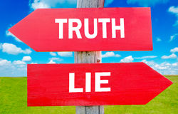 Truth or lie. Way choice showing strategy change or dilemmas stock image