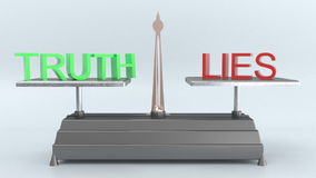 Truth and lies. Fluctuate on the scale stock video footage