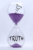 Truth and Lies Hourglass Stock Photos