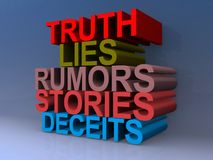 Truth and lies sign. Stack of colorful 3d words with the words truth, lies, rumors, stories, and deceits Royalty Free Stock Photo