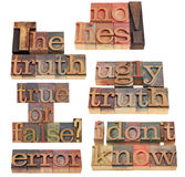 Truth and lies word collage. The truth, no lies, true or false - collage of isolated words in vintage wood letterpress printing blocks stock photo