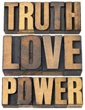 Truth, love and power. Core principles concept - a collage of isolated words in vintage letterpress wood type royalty free stock photo