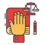 Truth, oath, hand on book, bible, small scales, law and justice, constitution concept. Line vector icon. Editable stroke. Flat linear illustration isolated on Royalty Free Stock Photography