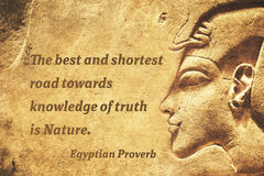 Truth road EP. The best and shortest road towards knowledge of truth is Nature - ancient Egyptian Proverb citation stock photo