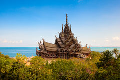 Truth temple. The wooden temple on the seashore Royalty Free Stock Photography