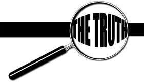 `THE TRUTH` under magnifying glass. Vector/ Illustration Stock Images