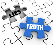 Truth Vs Lies Puzzle Piece Words Compete Honest Facts Whole. Truth word on a puzzle piece to fill a hole of lies in a puzzle to illustrate sincerity, honesty and Royalty Free Stock Image