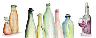 Truth in Wine and Juice. Art watercolor handmade  triptych - the Real Truth in Wine and Juice. Concept. Isolated Royalty Free Stock Images