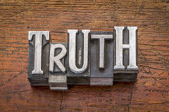 Truth word in metal type Stock Photography