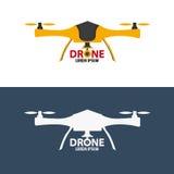 Trutnia logo Płaski projekt Quadrocopter sklep również zwrócić corel ilustracji wektora Zdjęcia Royalty Free