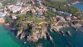 Trutnia materia? filmowy nad Costa Brava nabrze?ny, ma?y wioska los angeles Fosca Hiszpania zbiory wideo