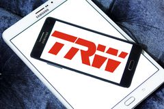TRW Automotive logo. Logo of TRW Automotive on samsung mobile. TRW Automotive is an American global supplier of automotive systems, modules, and components to Royalty Free Stock Photo