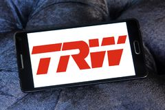 TRW Automotive logo. Logo of TRW Automotive on samsung mobile. TRW Automotive is an American global supplier of automotive systems, modules, and components to Stock Photos