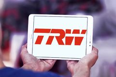 TRW Automotive logo. Logo of TRW Automotive on samsung tablet . TRW Automotive is an American global supplier of automotive systems, modules, and components to Royalty Free Stock Photos