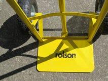 Trwały pusty koloru żółtego worek taczkowy z cieniami Fotografia Royalty Free