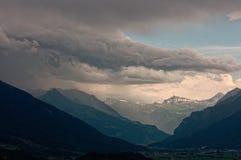 Trwająca burza nad Walensee jeziorem, Apenzell Alps, szwajcar obraz royalty free