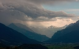 Trwająca burza nad Walensee jeziorem, Apenzell Alps, szwajcar fotografia royalty free