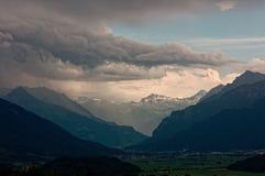 Trwająca burza nad Walensee jeziorem, Apenzell Alps, szwajcar zdjęcia royalty free
