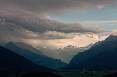 Trwająca burza nad Walensee jeziorem, Apenzell Alps, szwajcar obrazy royalty free