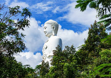 Trwanie biały Buddha na tle niebieskie niebo Zdjęcie Royalty Free
