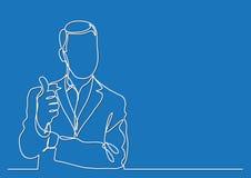 Trwanie biznesmen pokazuje kciuk w górę gesta - ciągły kreskowy rysunek ilustracja wektor