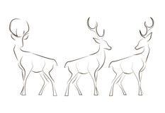 Trwanie czerni linii deers Zdjęcia Stock