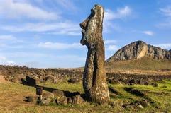 Trwanie moai blisko Ahu Tongariki, Wielkanocna wyspa, Chile Obraz Royalty Free