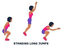 Trwanie skoki w dal Sporta exersice Sylwetki robi ćwiczeniu kobieta Trening, trenuje royalty ilustracja