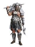 Trwanie srogi opancerzony barbarzyńcy wojownik pozuje na odosobnionym białym tle royalty ilustracja
