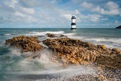 Trwyn Du Latarnia morska przy Penmon Obrazy Royalty Free