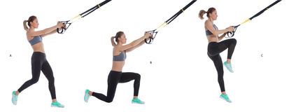 TRX balance lunge with hop Royalty Free Stock Image