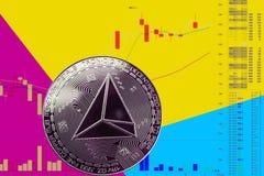 Trx cryptocurrency монетки на диаграмме и желтой голубой неоновой предпосылке иллюстрация вектора