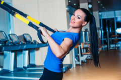 TRX. fitness, sports, exercise, technology and Royalty Free Stock Photography
