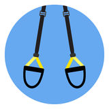 Trx flat icon emblem. Fitness gym workout, training exercise and cross training. Vector illustration Stock Photos