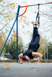 TRX training. Man Instructor at the park doing Excersise. Fitness workout. Royalty Free Stock Photography