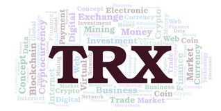 TRX or TRON cryptocurrency coin word cloud. Word cloud made with text only vector illustration