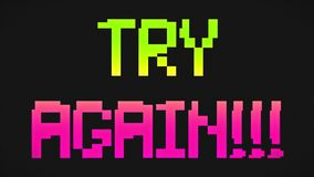 Try again screen green and pink colors. Try again screen 8-bit retro video game style text, old arcade games animation, green and pink colors background - 4K royalty free illustration